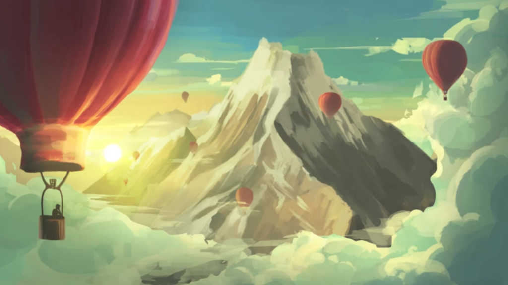 Hot air balloon in front of a mountain